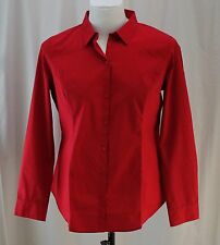Worthington, Size 16, Cherry Cordial Red Fitted Button Front Shirt, New with Tag