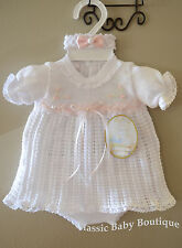 NWT Will'beth White Pink Knit Girls Dress 3pc Set Newborn Headband & Bloomers