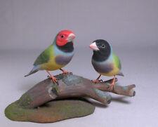 Gouldian Finch Pair Orig Bird Carving/Birdhug