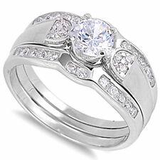 ELEGANT WHITE CZ BRIDAL SET .925 Sterling Silver Ring SIZES 6-10