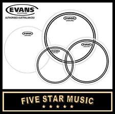 "EVANS ECR RESONANT HEADS 4 PCE DRUM SKIN ROCK SET 10"" 12"" 14"" 16"" SKINS NEW"