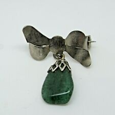 Brooch - Vintage Pin / Badge Silver and Jade Stone Bowtie Charm