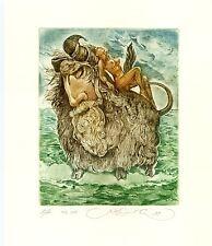 Europa and Bull, Surrealistic Ex libris Etching by Sergey Kirnitskiy, Ukraine
