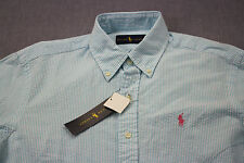 RALPH LAUREN Mens Baby Blue & White Striped Seersucker Pink Pony Shirt NWT M $85
