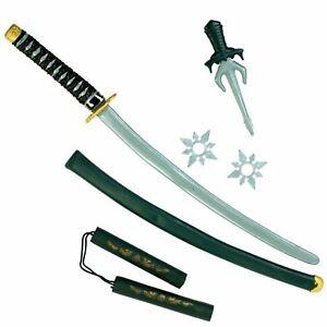 Deluxe Ninja Sword Nunchuck Dagger Fancy Dress Costume Accessory Toy Weapon Set