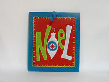 LARGE FELT EMBROIDERED HANGING PLAQUE CHRISTMAS DECORATION - NOEL