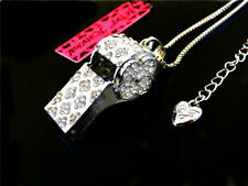 whistle Pendant Necklace Sweater Chain Betsey Johnson Fashion Jewellery Crystal