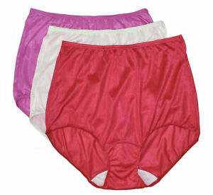 Shadowline Women's Nylon Full Brief Panty 3-Pack Assorted 17032