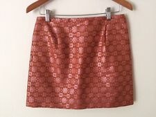 J.Crew Collection $228 Red Pink Gold Shimmer Jacquard Silk Mini Skirt - size 4