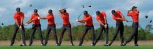 PGA Golf Photo Poster: TIGER WOODS SWING SEQUENCE Poster |100 inch by 36 inch|
