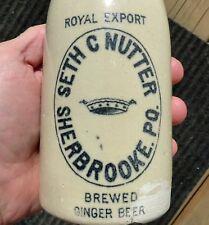 Antique Sherbrooke, Quebec 'SETH C. NUTTER' stone ginger beer bottle FREE SHIP!