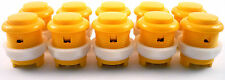 10 x 28mm Round Convex Curved Arcade Push Buttons & Microswitches (Yellow) MAME