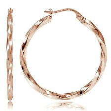 Rose Gold Tone over Sterling Silver 2mm Twist Round Hoop Earrings, 50mm