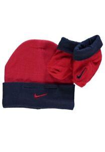 Nike Swoosh Baby Beanie Hat Booties Crib Shoes Socks Set Boys Red Navy Gift