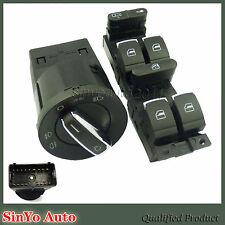 2Pcs Set Chrome Headlight Master Window Switch For VW Jetta Golf MK4 Bora Beetle