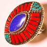 BIG! NATURAL RED CORAL,TURQUOISE,LAPPS LAZILY RING 925 STERLING SILVER.SIZE 8.0