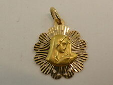 New 18ct Solid Yellow Gold Mother Mary Madonna Medal Pendant