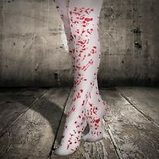 BLOOD SPLATTER TIGHTS - WHITE TIGHTS WITH RED BLOOD STAINS- HALLOWEEN-NURSE L