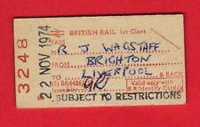 Edmondson Railway Ticket ~ BR(S) 1st Free - Brighton to Liverpool - 1974