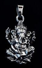 Pendentif Lord Ganesha Elephant Argent 925 15 g Amulette Bijou Hindou K44G 25410