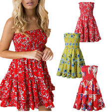 Womens Off Shoulder Strapless Dress Floral Print Beach Ruffles Summer Mini Dress