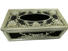 Tissue Box Cover Vintage Floral Embossed Heavy Plastic Silver w/ Felt Black