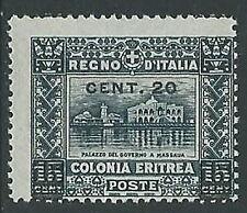 1916 ERITREA SOPRASTAMPATO 20 SU 15 CENT VARIETà SOPRASTAMPA MNH ** - M25-9