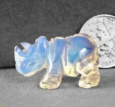 Miniature Hand Carved Opalite Rhinoceros Animal Spirit Totem Fetish Rhino 896