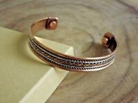 2 Pack Copper Magnetic Bracelet Arthritis Pain Therapy Energy Cuff Bangle New
