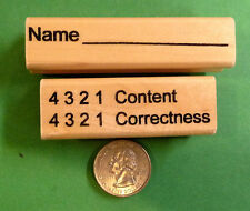 Name and 4 3 2 1 Content/Correctness  -  2-Piece Teacher's Rubber Stamp Set