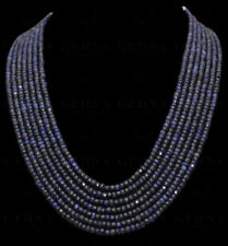 7 Rows African Blue Sapphire Gemstone Faceted Bead Necklace NP1303