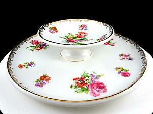 """ROYAL RUDOLSTADT PRUSSIA SIGNED MULTICOLOR FLORAL & GOLD 2 TIERED 9"""" TIDBIT TRAY"""