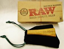 1 New Raw Wooden Double Barrel Holder Fits King Size with Carrying Pouch