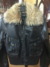 Outer Edge Faux FUR Collared Faux LEATHER BOMBER AVIATOR JACKET Brown JR'S S/M