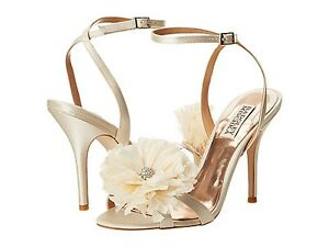 Badgley Mischka KAROL Wedding Bridal heel sandals strap shoes Ivory US 8,5 NEW