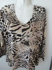 Walking Art Womens Beige&Black Animal Print Jersey Elbow Length Top Sz L(12-14)