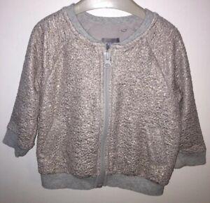Girls Age 6-9 Months - Next Sparkly Gold Zip Up Jacket