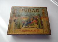 Vtg OLD By Lorillard Co S Anargyros TOBACCO TIN BOX Murad The Turkish Cigarette