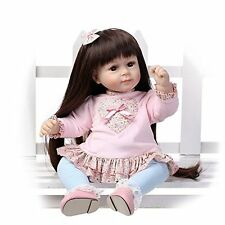 "Reborn Toddler Adora Sweet Girl Doll Long Black Hair 20"" Silicone Baby Girl Doll"