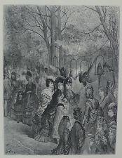 """Doré-Londres; 'zoológico Jardines-El Loro """"paseo, grabado en madera, C.1870"""