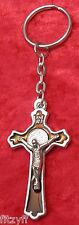 Brown Crucifix Jesus Keyring Holy Cross Key Ring Religious Catholic Gift