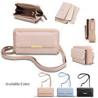 Genuine Leather Cross Body Bag Women Wallet Phone Card Cash Holder with strap