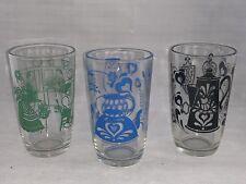 3 Swanky Swig KRAFT Juice Glasses, Black,Blue,Green-Bustling Betty, Teapot,Dutch