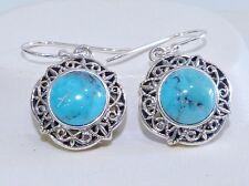 VINTAGE STYLE - Genuine Turquoise, Filigree Style Hook Earrings Silver 925!.
