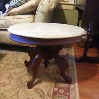 Antique Victorian Mahogany Oval Marble Top Coffee Table
