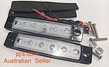 White 6 LED Side Marker Indicators Tail Light 12V x 2pcs