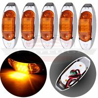 5pcs Clearance Lamp Led  Side Marker Truck Trailer Light 6Diode Amber Lens 2Wire