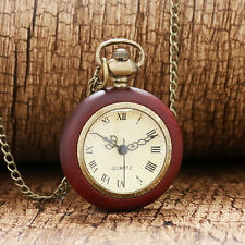 Red Wood Edge Roman Numeral Quartz Pocket Watch 80cm Necklace Pendant Chain Gift