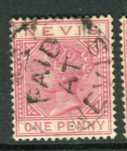 ST. KITTS; 1882 classic QV Crown CA issue used 1d. value PAID AT NEVIS Cancel