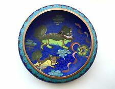 Vintage Rare Chinese Oriental Blue Cloisonné Bowl Foo Dogs Signed